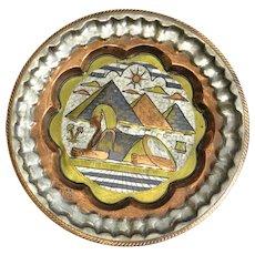 Egyptian Vintage Sphinx Design Copper Tray