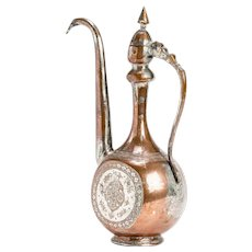 Antique Islamic Elegant Tinned Copper Ewer