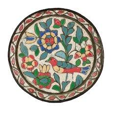 Antique Islamic Enamelled Ottoman Carnation Copper Tray