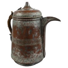 Islamic Indian Kashmir Large Tinned Copper Teapot