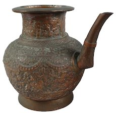 Antique Islamic Indian Spouted Floral Copper Lota