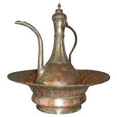 Islamic Antique Ottoman Tinned Copper Ewer and Basin Set