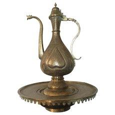 Antique Islamic Ottoman Set of Ewer and Basin, 19th Century