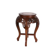 Old Chinese Hongmu Hardwood Table with Pink Marble