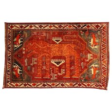 Unique Old Anatolian Yörük Lion and Leopard Nomadic Rug