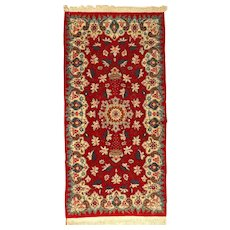 Old Anatolian Mosque Lamp Design Wool Rug, Turkey