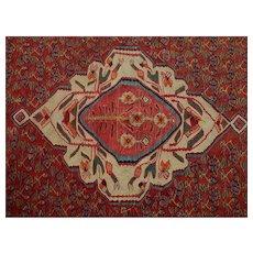 Antique Anatolian Kars Flat-Weave Bold Floral Wool Kelim