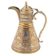 Mamluk Revival Damascus Coffee Ewer, Silver-Copper Inlaid