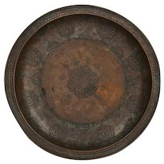 18th Century Central Asian Dated Tinned Copper Bukhara Lotus Tray