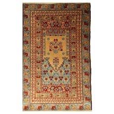 Anatolian Kula Prayer Wool Rug with Mihrab Design
