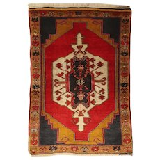 Old Turkish Anatolian Yörük Nomadic Wool Rug