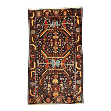 Afghan Baluch Zakini Tribal Vintage Wool Rug with Blue Elements
