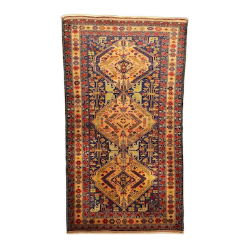 Afghan Baluch Zakini Tribal Vintage Wool Rug with Light Green Elements
