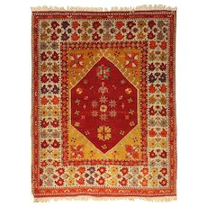 Imposing Very Old Anatolian Turkish Menderes Valley Wool Rug
