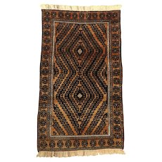 Old Afghan Baluch Hand-Knotted Wool Rug