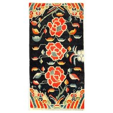Authentic and Antique Tibet Flower Wool Rug