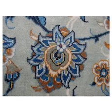 Attractive Large Floral Oriental Blue Wool on Cotton Rug