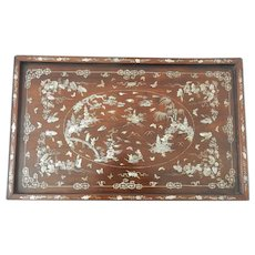 Antique Chinese Mother of Pearl Inlaid Wooden Tray