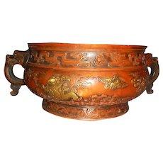 Massive Chinese Bronze Incense Burner with Gilt Raised Motifs
