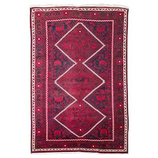 Oriental Old Dark Baluch Nomadic Wool on Cotton Rug