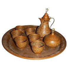 Vintage Turkish Beaten Copper Coffee Set on Tray