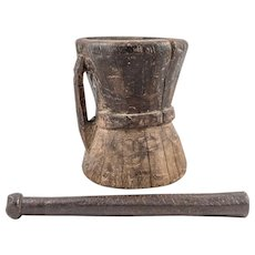 Old Turkish Wooden Mortar with Bronze Pestle