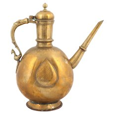 Indian Subcontinent Islamic Lahore Massive Peacock Brass Ewer