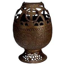 Antique Kashmir Engraved Copper Incense Burner