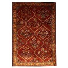 Unique Indian Floral Trellis Wool Rug with Rarest Design