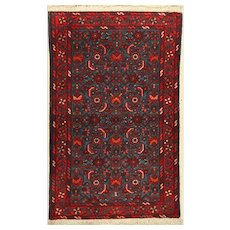 Middle East Floral Hand-Knotted Wool on Cotton Rug