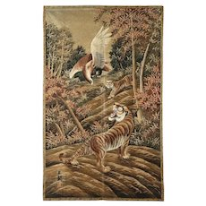 Old Chinese Tigers and Eagle Pictorial Textile Tapestry