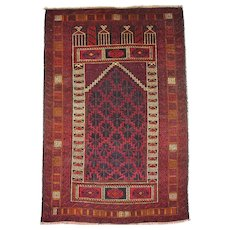 Afghan Baluch Tribal Prayer Rug with Mihrab Design