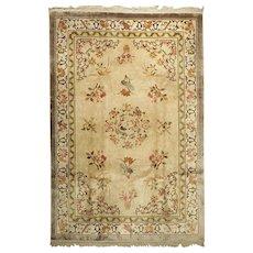 Old Chinese Oriental Silk Carpet