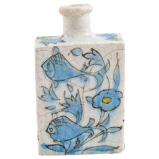 Antique Qajar Ceramic Bottle or Vase - Fish and Flower Pattern, 19th Century