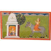 Antique Rajasthan or Rajput Painting, Gouache on Paper, 18th Century