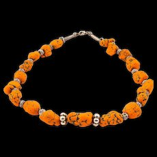 Artisan Orange Magnesite Stone Jewelry Necklace from Turkey