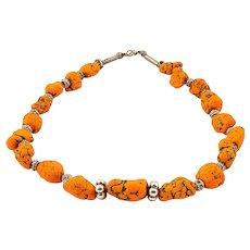 Artisan Orange Magnesite Stone Jewelry Necklace from Turkey