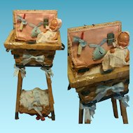 "Vintage old 1930's Earthenware shard little doll with original clothes "" One of a Kind "" wood and wicker cradle"