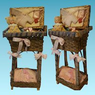 """Vintage old 1930's Earthenware shard little doll with original clothes """" One of a Kind """" wood and wicker cradle"""