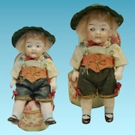 "Antique Doll 1900th 4,52"" Kestner All Bisque Googly all original for dollhouse"