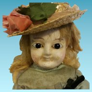 "21"" Antique German Doll Wax Over in composition shoulder head"