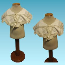 Antique French cotton lace cape valenciennes