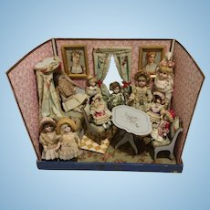 Antique French Doll Living Room in Box 1900 age