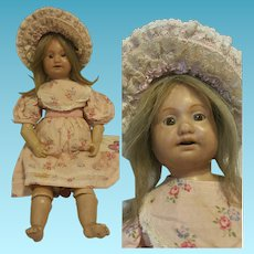 """14 """" Antique Rare Wax Doll articulated marked AP"""