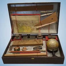 Antique French R.F Set in original box 1900th toy writing service with globe