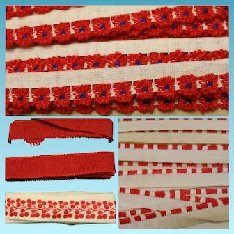 Antique second Lot of 25 yards total of red and white trim, lace embroidered