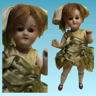 "4,72"" Antique all bisque German doll mignonette stationary neck 1910"""