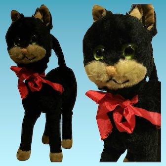 "Vintage plush black cat toy 1950"""