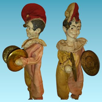 Antique Musical Cymbalier semi-automaton doll Clown with cymbals