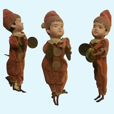 Antique Musical Cymbalier semi-automaton head papier mache doll Clown with cymbals
